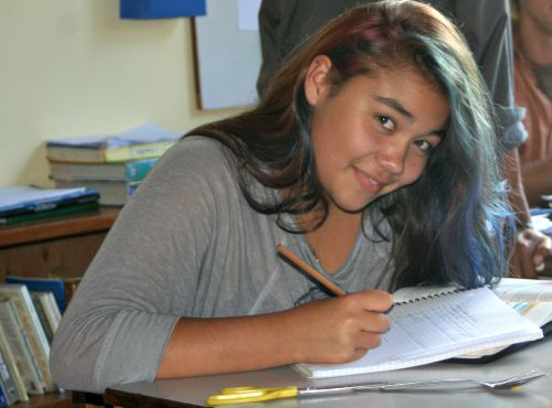 High school student working hard on academic studies at Monteverde Friends School in Costa Rica