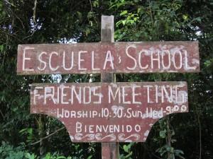Monteverde Friends School and meeting sign