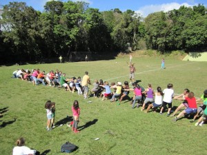 Parents help organize and contribute to sports day at Monteverde Friends School