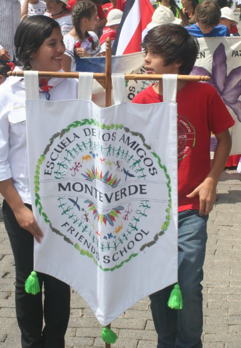 Students with banner independence day
