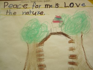 Primary and Elementary students at Monteverde Friends School learn about peace and nature