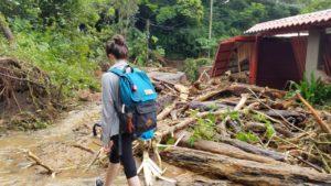 Tara Hein writing SAT's in Monteverde Costa Rica after Hurricane Nate