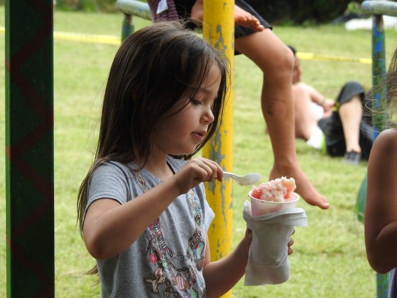 Student eating ice cream